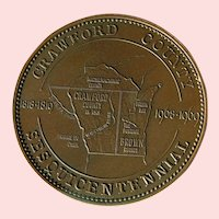 Wisconsin Crawford Co. Sesquicentennial Commemorative Token; 1818 -1968