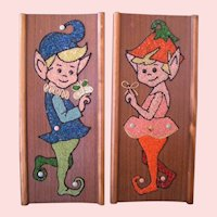 Mid-Century Pixie collages Boy Girl pair