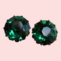 Deep Emerald Green Faceted Crystal Screw back Earrings
