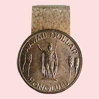 Money Clip Hawaiian Dollar; King Kamehameha token