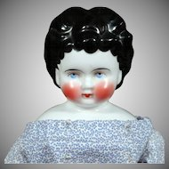 "16"" Antique German China Child Doll with Very Round Apple Cheeks, Unusual Hairstyle"