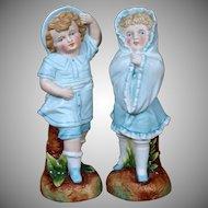 Antique German Bisque Figurine Pair Children