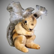 Rare Tiny Early Steiff Velveteen Squirrel Eichhorn with button, Post WWII