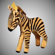 Steiff Velveteen Zebra with button, tag 1950's