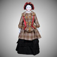 Large 1870's German China Lady in Fab Winter Costume
