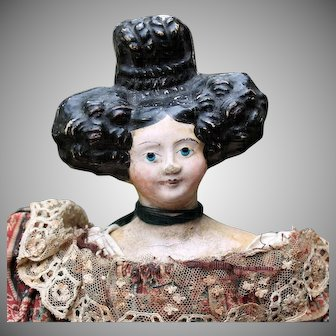 German Paper Mache Lady Doll with Large & Elaborate Apollo Knot All-Original