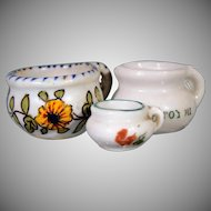 Three Miniature Chamber Pots ~ Two French