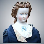 Rare Cafe Au Lait Parian with Molded Ribbon Crown and Sculpted Blouse