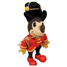 RARE 1930's Knickerbocker Toy Co. Drum Major Mickey Mouse w Hat
