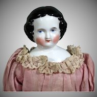 Civil  War Era China doll with Nice Antique Dress