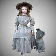 Antique Three-Piece Civil War Fashion Dress with Bustle and Wool Hat