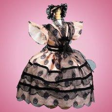 Pink & Black Silk Enfantine Fashion Dress with Fanchon Bonnet