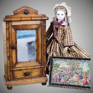 Antique French Miniature Bamboo Armoire