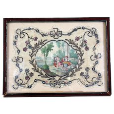 Framed French Face Screen with Rococo Scene and Dog Jewelled Spangles, Circa 1810
