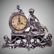 Miniature Figural Mantel Clock Ornate Vintage Piece