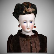 Wigged German Bisque Lady with Glass, Earrings ~  All Antique