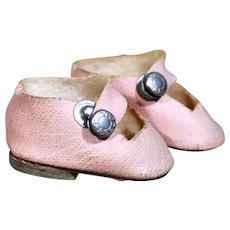 Small Pink Oilcloth Side Snap Shoes, 1930's