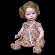 """French All-Bisque Baby SFBJ 252 Replica in Crocheted Outfit, 7.5"""""""