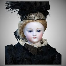 Early French Fashion Doll in Mourning Dress, 13 inches