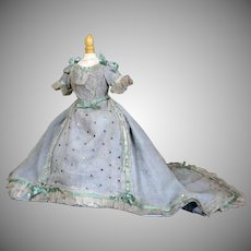 Antique Muslin Gauze French Fashion Gown with Extended Train