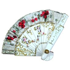 Lovely Small Antique French Fashion Hand Painted Doll Fan
