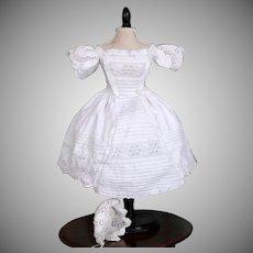 1860's Enfantine Style Eyelet Dress with Bonnet