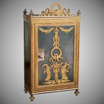 Rare French Bronze and Ormolu Miniature Armoire, 11 inches