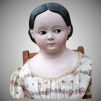 Flirty-Eyed papier Mache Child doll, 27 inches