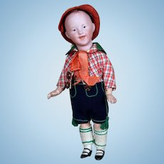 Gebruder Heubach Laughing Character Boy in Original Costume, 6.75 inches