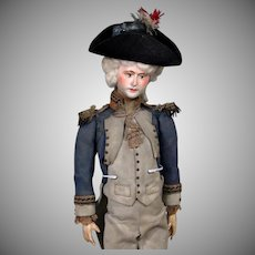 Large All-Original Papier Mache Soldier as Candy Container