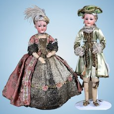 "Pair of Heubach 5689 ""Smiling Child"" in Original 17th century Costumes"