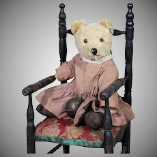 Mohair American Bear with Sweet Calico Dress and a tin toy ball