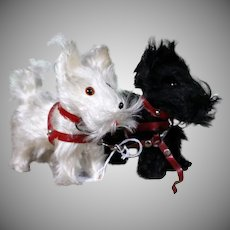 Pair of Black and White Scottish Terriers for your lady dolls