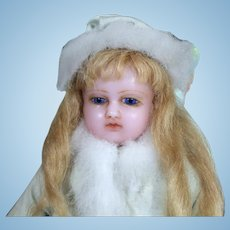 Antique English Poured Wax Doll, 18 inches