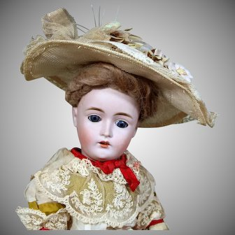 Uncommon Kestner 162 Lady Doll with FAO Schwarz label, 16 inches