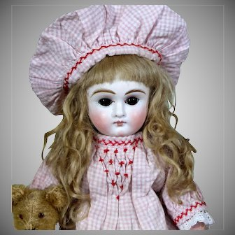 """Adorable Sonneberg """"Belton"""" with Antique Bear, 14 inches"""