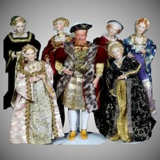 Henry VIII and His Six Wives Portrait Dolls by Renown Artist Kathy Redmond, OOAK Complete Set