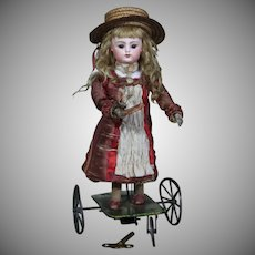 Charming All-Original Block Letter FG Mechanical Doll Playing Badminton by Vichy