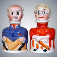 "Amusing German ""Mr. and Mrs. Carter"" Inkwells"