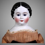 Early Blue Glass Eyed China with Greiner Hairstyle and Lovely Antique Costume