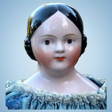 Kestner German china Doll with Painted Lashes, Brown Eyes