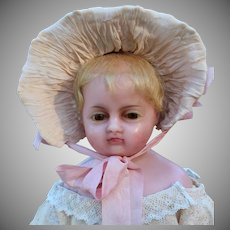 Antique English Poured Wax Doll, 16.5 inches
