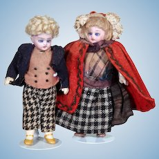 Simon & Halbig Dollhouse Pair All-Original, 5 inches