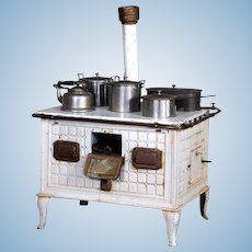 Embossed & Painted Working Tin Toy Stove with all Pots and Pans by Bing
