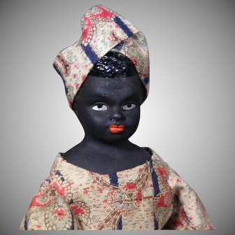 """Ebony Complexioned German Bisque Doll with Molded hair. 10 """"."""