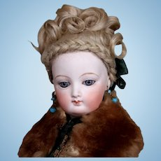 Uncommon French Poupee Peau in Antique Costume, 16 inches
