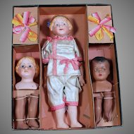 English Boxed Set of Multi Doll Heads by the Doll Pottery Company, Factory