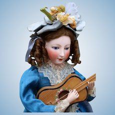 """French Mechanical Toy """"Seated Lady with Guitar"""" by Gustav Vichy, Rare portrait Face, 14.5 inches"""