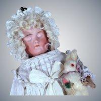 Carl Bergner 3-Faced Doll in Antique Presentation Basket, 11 inches