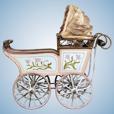 Antique Marklin Carriage with Original Silk Shade, 8.75""